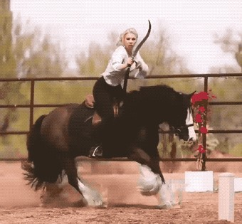 GIFs of blonde's horse archery skills is a country lover's delight