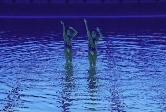 Syncronized Swimming as Seen Under Water