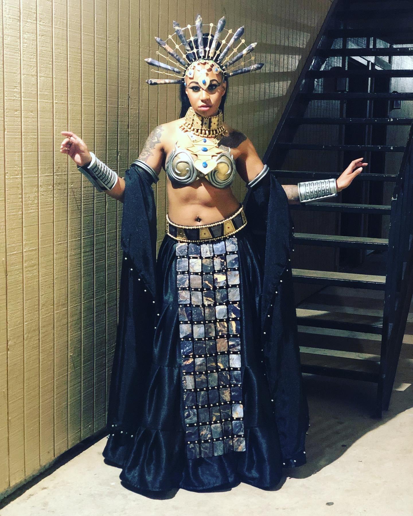 Akasha cosplay, made by NovocaineCosplay and modeled by Jade Henry
