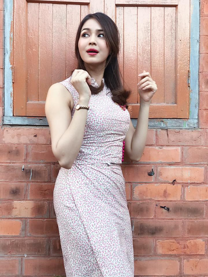 May Sue Maung in Beautiful Myanmar Outfit Fashion