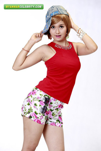 Hottie Phoo Pwint Thakhin in Red Vest & Floral Shorts