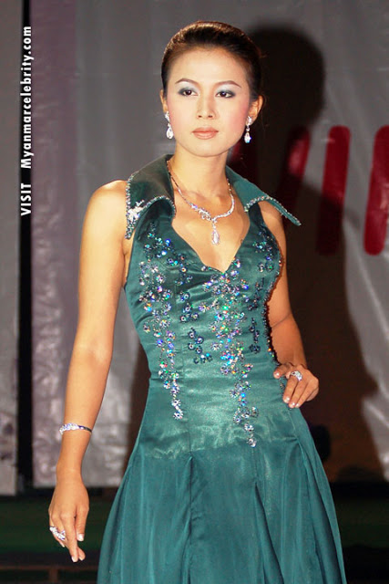 Myanmar popular mode and actress, Hsu Shune Lae with beautiful party gown fashion dress